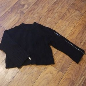 Zara Sweaters - Zara Knit Ribbed Cropped Sweater With Zippers